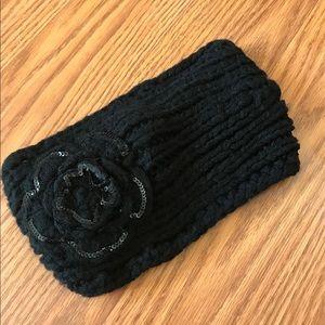 Accessories - Black Flower Crochet Knit Headband Ear warmer